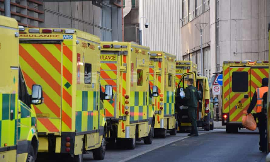 Ambulances in a queue outside the Royal London Hospital