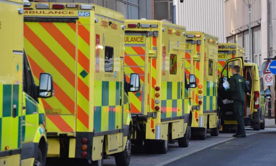 Ambulances in a queue outside the Royal London Hospital.