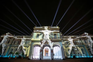 Singapore Projections and light beams illuminate the facade of the national museum during a media preview of the Night festival