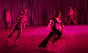 'Kinetic swirl': the Rosas dancers 'run, fly and glancingly collide' in a 'charmed, light-bathed space' during Rain at Sadler's Wells.