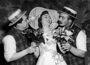 Tony Hancock, Vera Lynn and Jimmy Edwards rehearse a scene for the new revue 'London Laughs' at the Adelphi on 8 April 1952