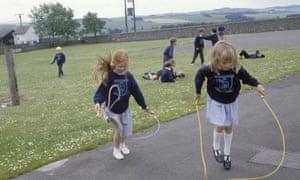 Children in playground of rural school
