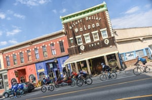 Riding through the town of Leadville, known for its 100-mile ultrarunning and MTB races.
