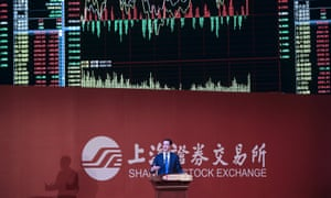 George Osborne delivers a speech at the Shanghai Stock Exchange.