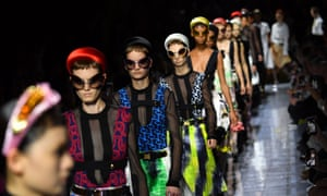 Bold colours, clashing patterns and Tudor-style headbands filled the catwalk.