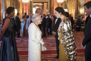 Queen Elizabeth II greets Jacinda Ardern, Prime Minister of New Zealand