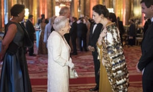 The Queen greeting Jacinda Ardern, prime minister of New Zealand, at Buckingham Palace during the Commonwealth heads of government meeting in April.