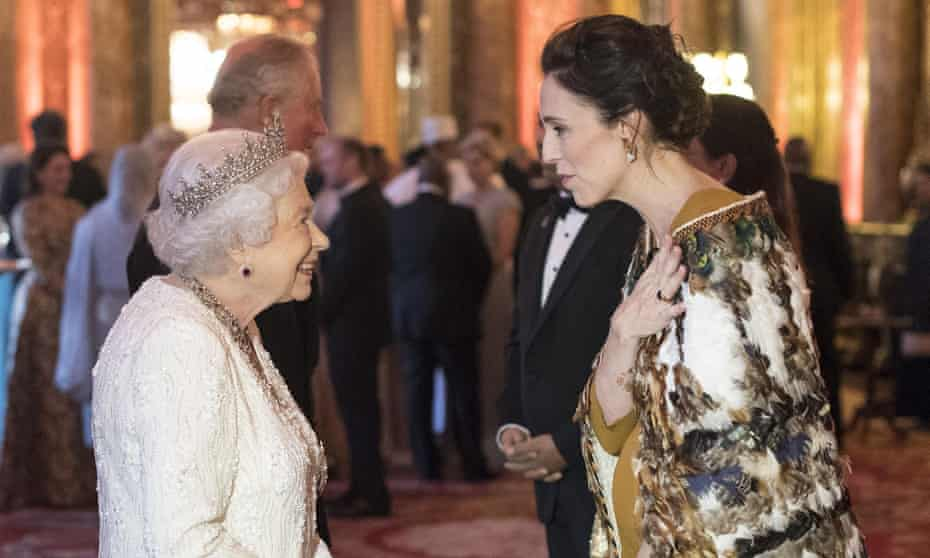 Jacinda Ardern at Buckingham Palace with the Queen, April 2017