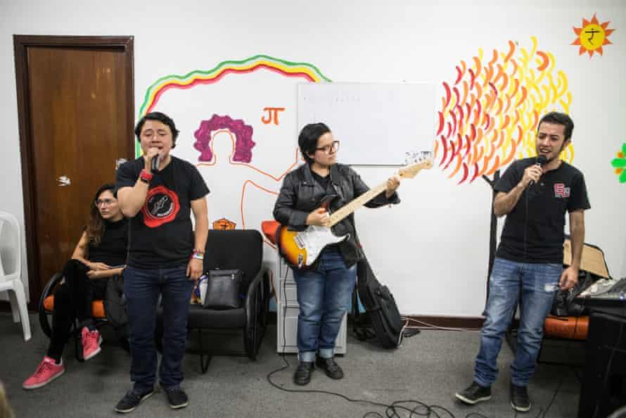 The 250 milligrams band rehearsing at the Sebastián Romero LBGT Centre.