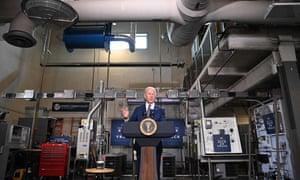 Joe Biden speaks following a tour of Tidewater Community College in Norfolk, Virginia.