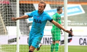 Harry Kane of Tottenham Hotspur celebrates after scoring his sides second goal.