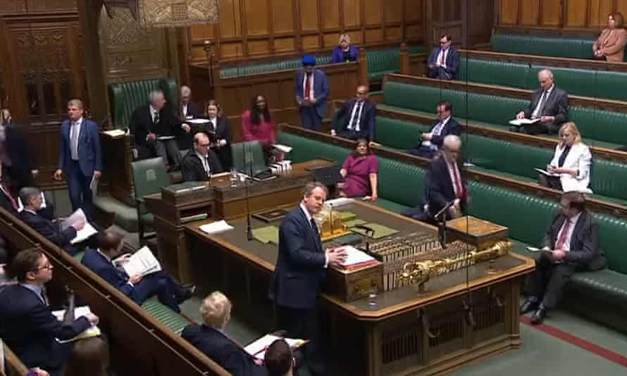 MPs sitting further apart than usual in the House of Commons on 25 March 2020