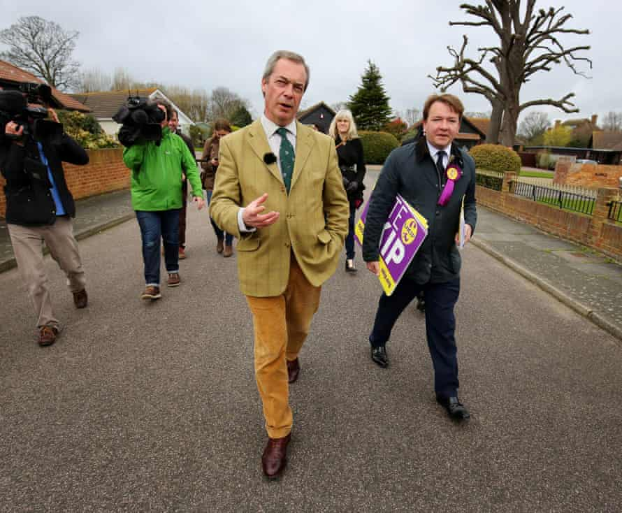 Nigel Farage with Tim Aker (right), Ukip's prospective parliamentry candidate for Thurrock in the 2015 general election.