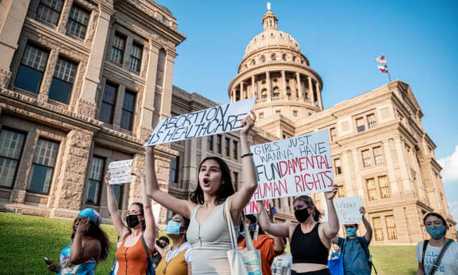 Pro-choice protesters rally outside the Texas state capitol in Austin on 1 September.
