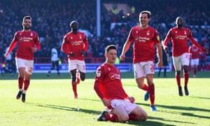 Nottingham Forest's Joe Lolley celebrates scoring his superb second goal against Luton.