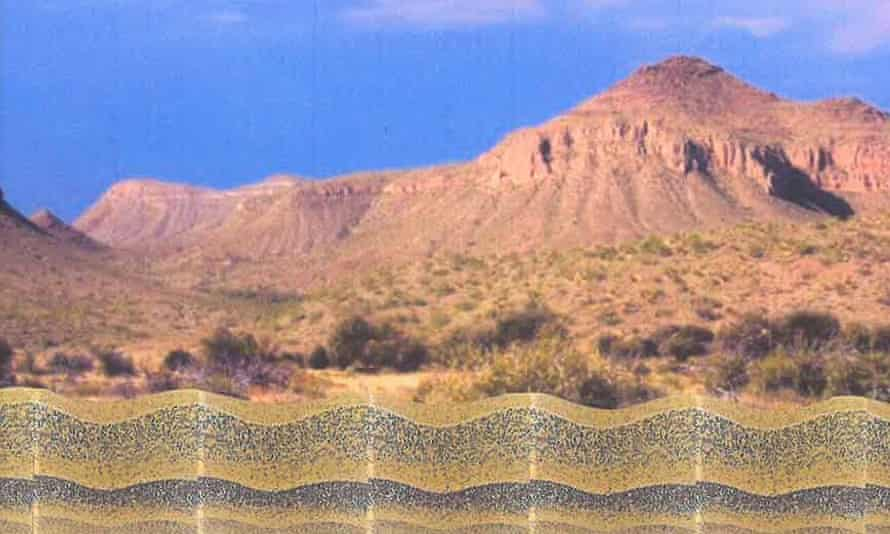 A rendering of the Single Eagle proposal for the border wall, which takes colors from the natural environment.