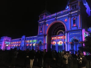 Projections outside the Exhibition Building in Melbourne, as part of the city's White Night festival