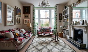 'Anything is a treasure in this house': the living room with Argentinian blankets and botanical-print curtains.