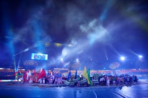 The opening ceremony at the Morumbi Stadium in São Paulo gets the tournament under way.
