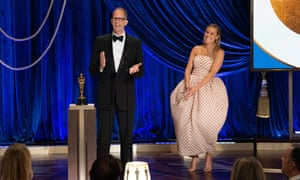 Pete Docter and Dana Murray accept the Animated Feature Film award for Soul