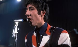 Pete Townshend in Union Jack jacket on stage in the 1960s.