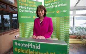 Leanne Wood launching Plaid's general election campaign in Bangor, north Wales.