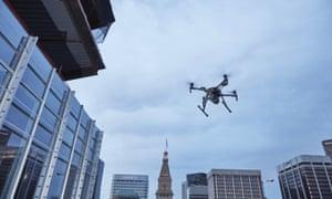 A drone in the centre of Denver, Colorado.