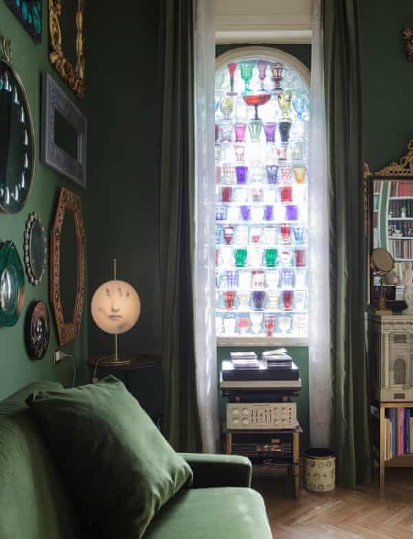 Casting rainbows: the living room's Biedermeier-glass window installation.