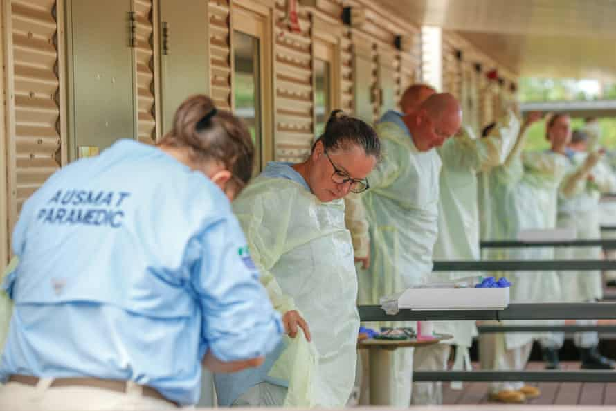 Staff at the Howard Springs quarantine facility in Darwin conduct a PPE drill.