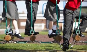 School pupils on climbing equipment