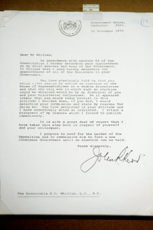 A copy of the letter of dismissal held at the National Archives in Canberra