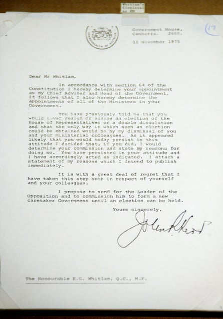 A copy of the letter of dismissal held at the National Archives in Canberra written by then governor general Sir John Kerr in 1975.