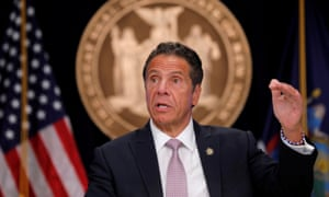 New York governor, Andrew Cuomo, during a coronavirus briefing in Manhattan.