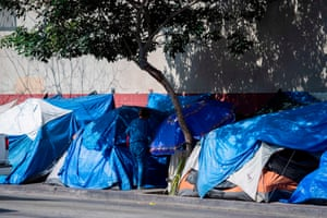Tents line the street in the Skid Row area of Los Angeles.