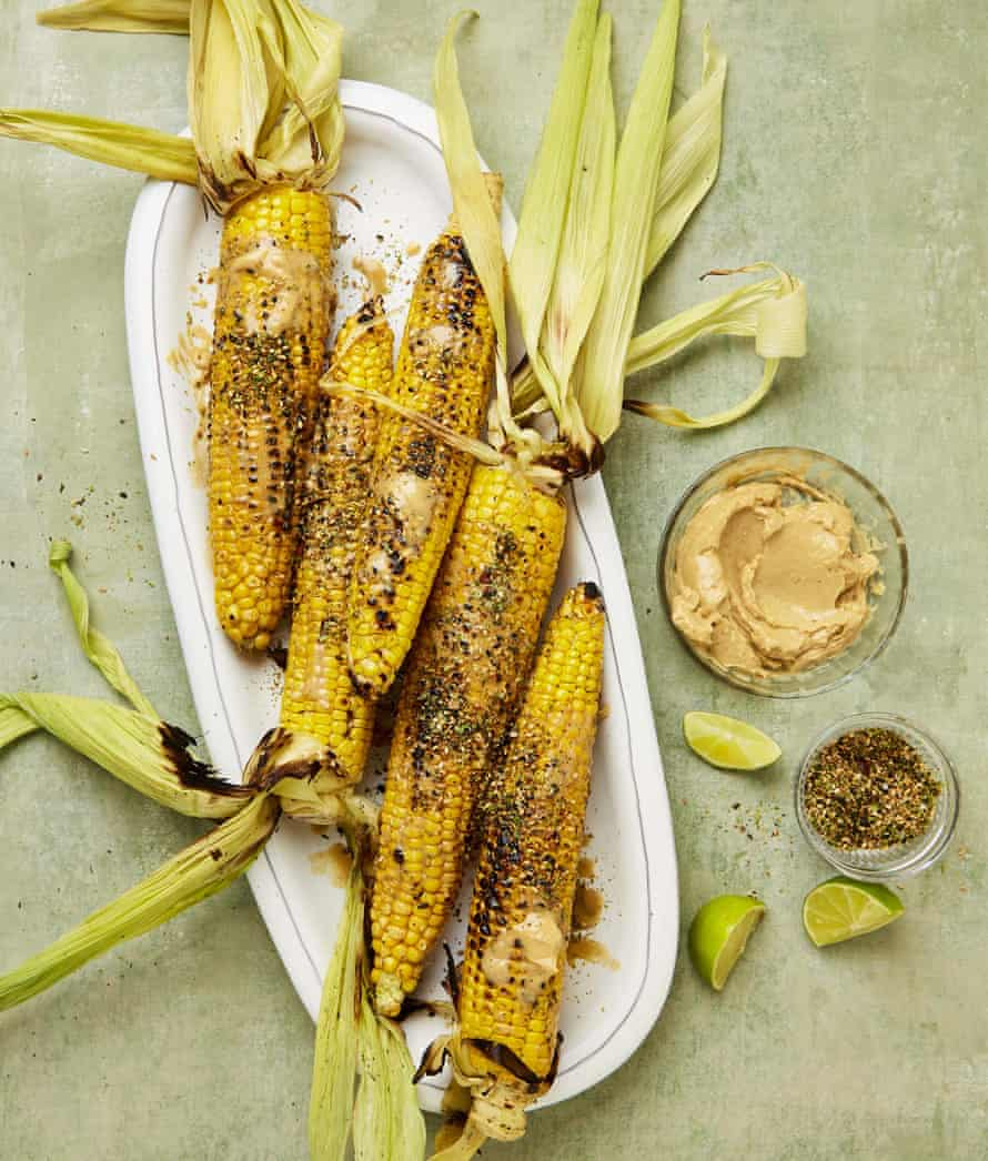 Yotam Ottolenghi's grilled corn with tahini and soy butter and gomashio.