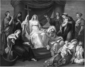 A contemporary engraving of the painting Religion Attended by the Virtues, which may have been destroyed in the Blitz.