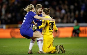 Chelsea's keeper Ann Katrin Berger and teammates celebrate at the final whistle.