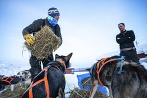 Joar Liefseth Ulsom, of Norway, tends to his dogs while talking to fellow competitor Thomas Waerner in Ruby, Alaska, Friday morning, March 13, 2020, during the Iditarod Trail Sled Dog Race.