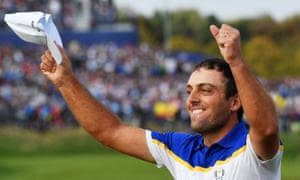 Francesco Molinari of Europe celebrates winning The Ryder Cup
