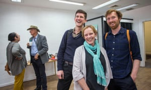 Jenny O'Connor, independent candidate for Benambra, with Ben McGowan and Cam Klose at her office opening in Wodonga.