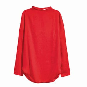 red high necked blouse, H&M
