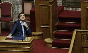 Alexis Tsipras attends the emergency vote in the Greek parliament.