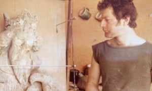 Trevor Proudfoot working on the Bristol High Cross from the Stourhead estate in the 1980s.
