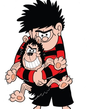 Beano character Dennis the Menace with his dog Gnasher.