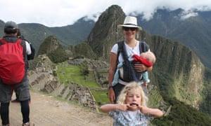 Rachel Holmes and family at Machu Picchu.