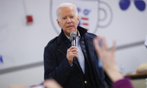 Joe Biden answers questions in Manchester, New Hampshire, on 8 February.