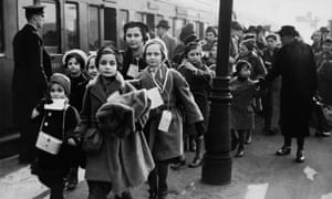 Jewish Kindertransport children arriving in London in February 1939