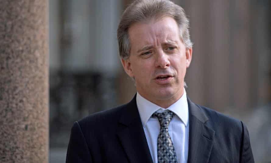 Christopher Steele speaks to the media in London on Tuesday.