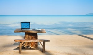 office on the beach, computer and table<br>DW5H5R office on the beach, computer and table