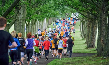 Runners head for the hills on the Woodhouse Moor Parkrun near Leeds.
